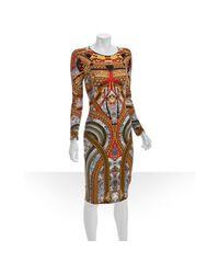 Alexander McQueen | Metallic Gold Samurai Print Jersey Long Sleeve Sheath Dress | Lyst