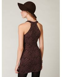 Free People - Brown Animal Knit Bodycon Dress - Lyst