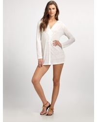 Joie | White Hooded Linen Tunic | Lyst
