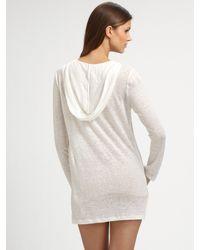Joie - White Hooded Linen Tunic - Lyst