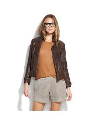 Madewell | Gray Lasercut Suede Shorts | Lyst