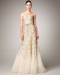 Monique Lhuillier - Metallic Strapless Tulle Chantilly Lace Gown - Lyst