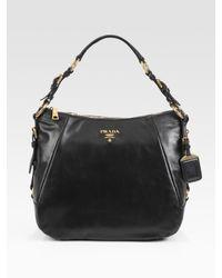 Prada | Black Soft Calf Zip Hobo Bag | Lyst