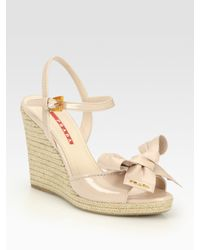 d788404f5b6d Lyst - Prada Patent Leather Espadrille Wedge Sandals in Natural