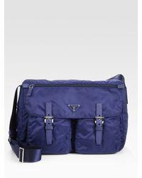 Prada | Blue Nylon Messenger Bag | Lyst