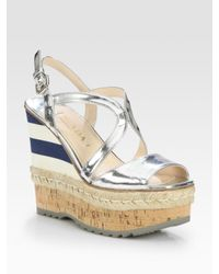 Prada | Metallic Leather Espadrille Wedge Sandals | Lyst