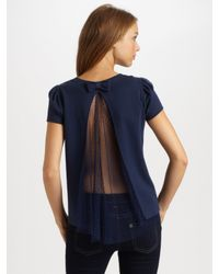 RED Valentino | Blue Jersey Sweatshirt with Lace Back | Lyst