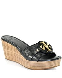 Tory Burch | Patti - Black Leather Mid Wedge Slide | Lyst