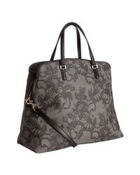 Valentino | Gray Grey Lace Print Coated Canvas Convertible Shoulder Bag | Lyst