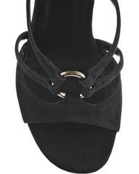 Saint Laurent - Black Totem Sculpted-wedge Suede Sandals - Lyst