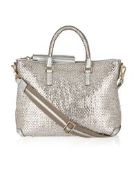 Anya Hindmarch | Metallic Mini Huxley Woven-leather Tote | Lyst