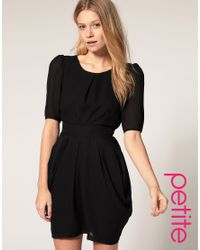 ASOS Collection - Black Asos Petite Tulip Dress with Sleeves - Lyst
