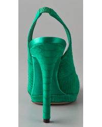 B Brian Atwood - Green Felicite Sling Back Pumps - Lyst