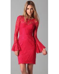 BCBGMAXAZRIA | Red Salina Lace Corset Dress | Lyst