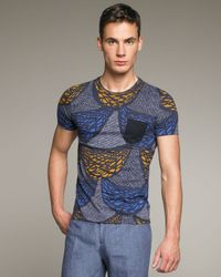 Burberry Prorsum | Blue Scallop-print Tee for Men | Lyst