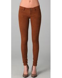 Current/Elliott - Brown The Ankle Skinny Suede - Lyst