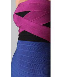 Hervé Léger | Multicolor Strapless Colorblock Dress | Lyst