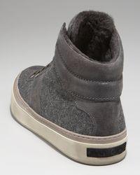 Jimmy Choo | Gray Flannel & Shearling Hi-top Sneaker | Lyst