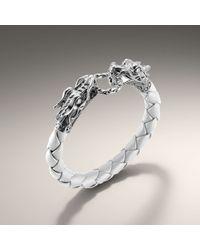 John Hardy | White Woven Leather Dragon Bracelet | Lyst