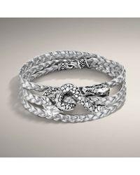 John Hardy | Metallic Naga Triple-wrap Leather Bracelet, Silver | Lyst