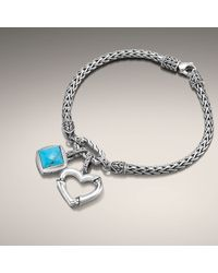 John Hardy | Metallic Extra-small Bracelet with Bamboo Heart Charm and Square Charm | Lyst