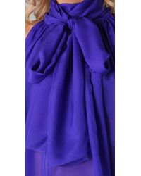 L.A.M.B. - Blue Tie Neck Chiffon Blouse - Lyst