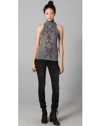 L.A.M.B. - Gray Beaded Sleeveless Turtleneck Sweater - Lyst