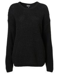 TOPSHOP | Black Knitted Textured Slouch Jumper | Lyst