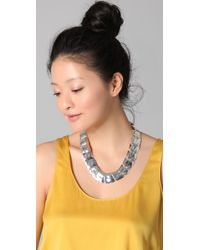 Tuleste | Metallic Small Hammered Square Necklace | Lyst