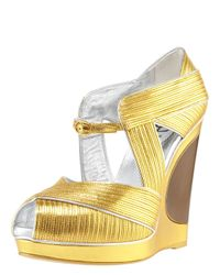 Saint Laurent | Metallic Piped Wedge Sandal | Lyst