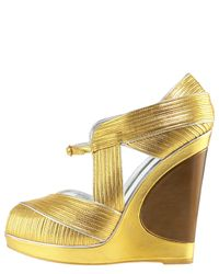 Saint Laurent - Metallic Piped Wedge Sandal - Lyst