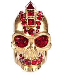 Alexander McQueen - Metallic Punk Skull Ring - Lyst
