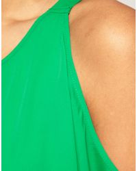 ASOS Collection - Green Backless Top with Cut-Out Shoulder - Lyst