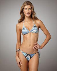 Emilio Pucci | Blue Shimmery Isfahan String Bikini | Lyst