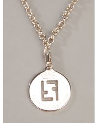 Fendi - Gray Chain Necklace - Lyst