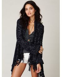 Free People | Blue Fantasy Fringe Cardigan | Lyst