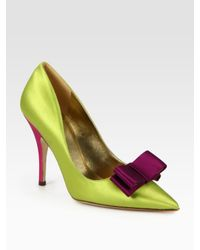 kate spade new york | Green Latrice Colorblock Satin Point Toe Pumps | Lyst