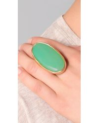Kenneth Jay Lane - Green Satin Gold and Jade Oval Ring - Lyst