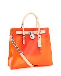 Michael Kors | Orange Large Hamilton Frosted Jelly Tote, Tangerine | Lyst
