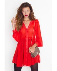 Nasty Gal | Red Chiffon Babydoll Dress - Crimson | Lyst