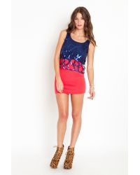 Nasty Gal - Blue Caged Sequin Tank  - Lyst