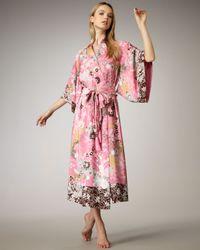 Natori - Pink Voyager Floral-print Kimono Robe - Lyst