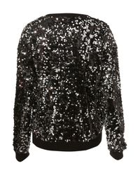 TOPSHOP - Black Knitted Sequin Sweater - Lyst