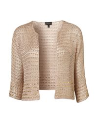 TOPSHOP | Natural Knitted Beaded Crop Jacket | Lyst