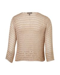 TOPSHOP - Natural Knitted Beaded Crop Jacket - Lyst