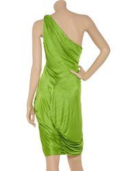 Zac Posen - Green Draped One-shoulder Jersey Dress - Lyst