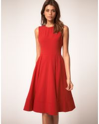 ASOS Collection - Red Asos Midi Dress with Full Skirt - Lyst
