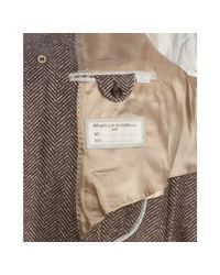 Brunello Cucinelli | Brown Herringbone Wool-cashmere Fox Fur Trim Double Breasted Coat for Men | Lyst