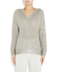 Donna Karan - Gray Sequined Cashmere and Silk-blend Sweater - Lyst