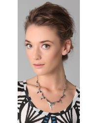 Fallon - Metallic Shark Attack Necklace - Lyst